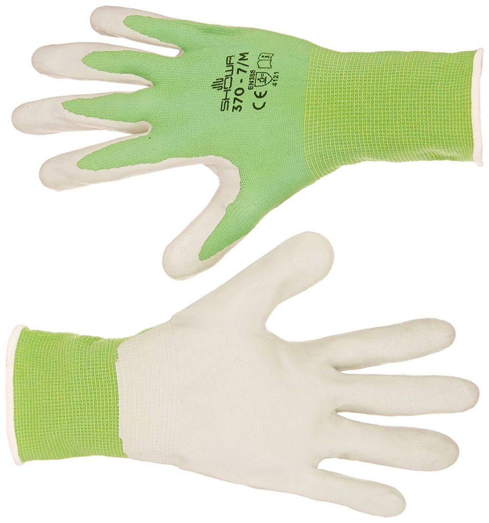 green gardening gloves Atlas Nitrile Touch Gloves