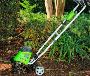 small garden tiller  GreenWorks 27072 review